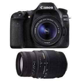 Canon EOS 80D + EF-S 18-55mm f/4-5.6 IS STM + Sigma 70-300mm F4-5,6 DG Macro | 2 Years Warranty