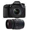 Canon EOS 80D + EF-S 18-135 mm f/3.5-5.6 IS USM + Sigma 70-300 f/4-5,6 APO DG MACRO   2 años de garantía