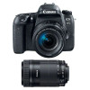 Canon EOS 77D + EF-S 18-55mm f/4-5.6 IS STM + EF-S 55-250 mm f/4-5,6 IS STM | Garantie 2 ans