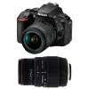 Nikon D5600 + AF-P DX NIKKOR 18-55 mm f/3.5-5.6G VR + Sigma 70-300 mm f/4-5,6 DG APO Macro | 2 Years Warranty
