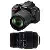 Nikon D5600 + AF-S DX 18-105 mm f/3.5-5.6G ED VR + Sigma 70-300 mm f/4-5,6 DG APO Macro | Garantie 2 ans