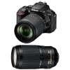 Nikon D5600 + AF-S DX 18-105 mm f/3.5-5.6G ED VR + AF-S 70-300 mm f/4.5-5.6 G IF-ED VR | Garantie 2 ans
