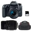 Canon EOS 77D + EF-S 18-55mm f/4-5.6 IS STM + Sigma 70-300 mm f/4-5,6 DG Macro + Bolsa + SD 4Go