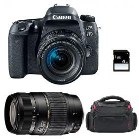 Canon EOS 77D + EF-S 18-55mm f/4-5.6 IS STM + Tamron AF 70-300 mm f/4-5,6 Di LD Macro + Bag + SD 4Go   2 Years Warranty