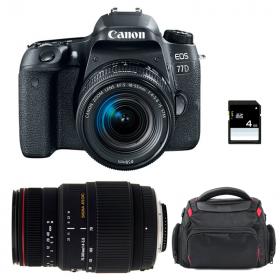 Canon EOS 77D + EF-S 18-55mm f/4-5.6 IS STM + Sigma 70-300 f/4-5,6 APO DG MACRO + Sac + SD 4 Go