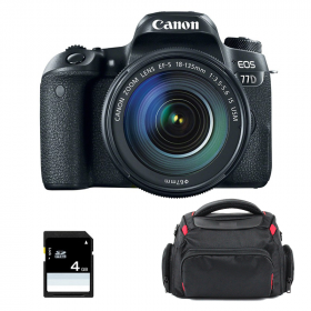 Canon EOS 77D + EF-S 18-135 mm f/3.5-5.6 IS USM + Sac + SD 4Go