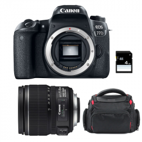 Canon EOS 77D + EF-S 15-85 mm f/3.5-5.6 IS USM + Bag + SD 4Go   2 Years Warranty