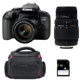 Canon EOS 800D + EF-S 18-55mm f/4-5.6 IS STM + Sigma 70-300 DG MACRO + Sac + SD 4Go
