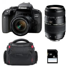 Canon EOS 800D + EF-S 18-55mm f/4-5.6 IS STM + Tamron AF 70-300 mm f/4-5,6 Di LD + Bolsa + SD 4Go | 2 años de garantía