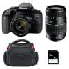 Canon EOS 800D + EF-S 18-55mm f/4-5.6 IS STM + Tamron AF 70-300 mm f/4-5,6 Di LD + Sac + SD 4Go   Garantie 2 ans