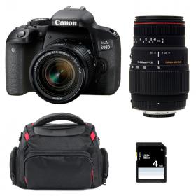 Canon EOS 800D + EF-S 18-55mm f/4-5.6 IS STM + Sigma 70-300 f/4-5,6 APO DG MACRO + Bag + SD 4 Go   2 Years Warranty