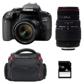 Canon EOS 800D + EF-S 18-55mm f/4-5.6 IS STM + Sigma 70-300 f/4-5,6 APO DG MACRO + Sac + SD 4 Go