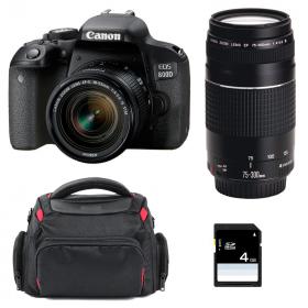Canon EOS 800D + EF-S 18-55mm f/4-5.6 IS STM + EF 75-300 mm f/4.0-5.6 III + Sac + SD 4Go