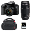 Canon EOS 800D + EF-S 18-55mm f/4-5.6 IS STM + EF 75-300 mm f/4.0-5.6 III + Sac + SD 4Go | Garantie 2 ans