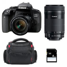 Canon EOS 800D + EF-S 18-55mm f/4-5.6 IS STM + EF-S 55-250 mm f/4-5,6 IS STM + Bolsa + SD 4Go | 2 años de garantía
