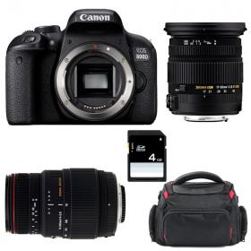 Canon EOS 800D + Sigma 17-50 F2.8 DC OS EX HSM + Sigma 70-300 f/4-5,6 APO DG MACRO + Sac + SD 4Go