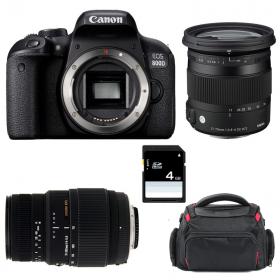 Canon EOS 800D + Sigma 17-70 mm f/2,8-4 DC Macro OS HSM Cont. + 70-300 mm f/4-5,6 DG Macro + Bag + SD 4Go   2 Years Warranty
