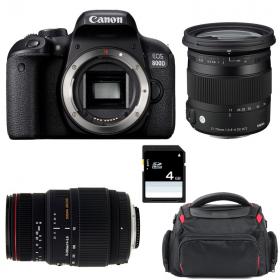 Canon EOS 800D + Sigma 17-70 mm f/2,8-4 DC Macro OS HSM Cont. + Sigma 70-300 mm f/4-5,6 DG APO + Sac + SD 4 Go
