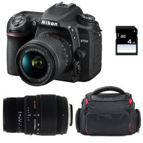 Nikon D7500 + AF-P DX 18-55 mm f/3.5-5.6G VR + Sigma 70-300 mm f/4-5,6 DG Macro + Sac + SD 4Go