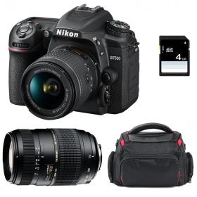 Nikon D7500 + AF-P DX 18-55 mm f/3.5-5.6G VR + Tamron AF 70-300 mm f/4-5,6 Di LD Macro 1/2 + Sac + SD 4Go