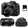 Nikon D7500 + AF-P DX NIKKOR 18-55mm f/3.5-5.6G VR + AF 70-300mm f/4-5,6 Di LD Macro 1/2 + Bag + SD 4Go | 2 años de garantía