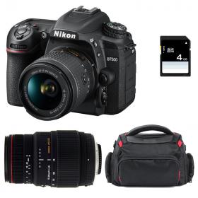 Nikon D7500 + AF-P DX NIKKOR 18-55 mm f/3.5-5.6G VR + Sigma 70-300 mm f/4-5,6 DG APO Macro + Sac + SD 4Go
