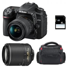 Nikon D7500 + AF-P DX NIKKOR 18-55 mm f/3.5-5.6G VR + AF-S DX 55-200 mm f/4-5.6 ED VR II + Sac + SD 4Go