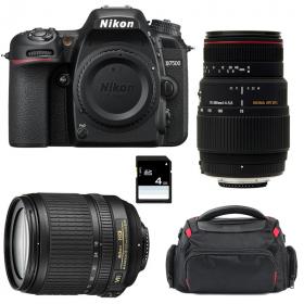 Nikon D7500 + AF-S DX 18-105 mm f/3.5-5.6G ED VR + Sigma 70-300 mm f/4-5,6 DG APO Macro + Sac + SD 4Go