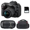 Nikon D7500 + AF-P DX 18-55mm 3.5-5.6G VR + AF-P DX 70-300 mm f/4.5-6.3 G ED VR + Bolsa + SD 4Go