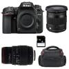 Nikon D7500 + 17-70 mm f/2,8-4 DC Macro OS HSM Cont. + 70-300 mm f/4-5,6 DG APO Macro + Bolsa + SD 4 Go