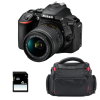 Nikon D5600 + AF-P DX NIKKOR 18-55 mm f/3.5-5.6G VR + Bolsa + SD 4Go