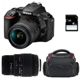 Nikon D5600 + AF-P DX NIKKOR 18-55 mm f/3.5-5.6G VR + Sigma 70-300 mm f/4-5,6 DG Macro + Bolsa + SD 4Go