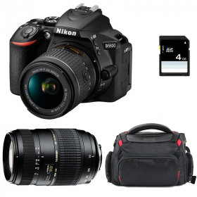 Nikon D5600 + AF-P DX NIKKOR 18-55 mm f/3.5-5.6G VR + AF 70-300 mm f/4-5,6 Di LD Macro 1/2 + Bag + SD 4Go | 2 Years Warranty