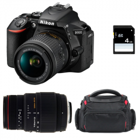 Nikon D5600 + AF-P DX NIKKOR 18-55 mm f/3.5-5.6G VR + Sigma 70-300 mm f/4-5,6 DG APO Macro + Sac + SD 4Go