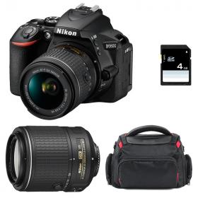 Nikon D5600 + AF-P DX NIKKOR 18-55 mm f/3.5-5.6G VR + AF-S DX 55-200 mm f/4-5.6 ED VR II + Bag + SD 4Go   2 Years Warranty
