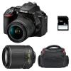 Nikon D5600 + AF-P DX NIKKOR 18-55 mm f/3.5-5.6G VR + AF-S DX 55-200 mm f/4-5.6 ED VR II + Bolsa + SD 4Go