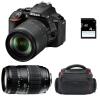 Nikon D5600 + AF-S DX 18-105 mm f/3.5-5.6G ED VR + Tamron AF 70-300 mm f/4-5,6 Di LD Macro 1/2 + Bolsa + SD 4Go