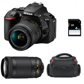Nikon D5600 + AF-P DX NIKKOR 18-55 mm f/3.5-5.6G VR + AF-P DX 70-300 f/4,5-6,3 G ED VR + Bolsa + SD 4Go
