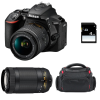 Nikon D5600 + AF-P DX NIKKOR 18-55 mm f/3.5-5.6G VR + AF-P DX 70-300 f/4,5-6,3 G ED VR + Bag + SD 4Go | 2 Years Warranty