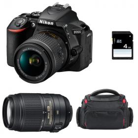 Nikon D5600 + AF-P DX NIKKOR 18-55 mm f/3.5-5.6G VR + AF-S DX 55-300 mm f/4.5-5.6 G ED VR + Bolsa + SD 4Go
