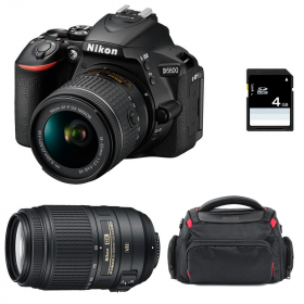 Nikon D5600 + AF-P DX NIKKOR 18-55 mm f/3.5-5.6G VR + AF-S DX 55-300 mm f/4.5-5.6 G ED VR + Sac + SD 4Go