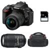 Nikon D5600 + AF-P DX NIKKOR 18-55 mm f/3.5-5.6G VR + AF-S DX 55-300 mm f/4.5-5.6 G ED VR + Bag + SD 4Go | 2 Years Warranty