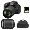 Nikon D5600 + AF-S DX 18-105 mm f/3.5-5.6G ED VR + AF-S DX 55-200 mm f/4-5.6 ED VR II + Bag + SD 4Go | 2 Years Warranty