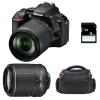 Nikon D5600 + AF-S DX 18-105 mm f/3.5-5.6G ED VR + AF-S DX 55-200 mm f/4-5.6 ED VR II + Sac + SD 4Go | Garantie 2 ans