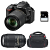 Nikon D5600 + AF-S DX 18-105 mm f/3.5-5.6G ED VR + AF-S DX 55-300 mm f/4.5-5.6 G ED VR + Bag + SD 4Go | 2 Years Warranty
