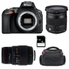Nikon D5600 + Sigma 17-70 mm f/2,8-4 DC Macro OS HSM Cont. + 70-300 mm f/4-5,6 DG APO Macro + Bag + SD 4Go | 2 Years Warranty