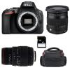 Nikon D5600 + Sigma 17-70 mm f/2,8-4 DC Macro OS HSM Cont. + Sigma 70-300 mm f/4-5,6 DG APO Macro + Sac + SD4Go   Garantie 2 ans