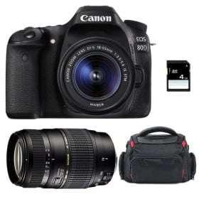 Canon EOS 80D + EF-S 18-55 mm IS STM + Tamron AF 70-300 mm f/4-5,6 Di LD Macro 1/2 + Bag + SD 4Go | 2 Years Warranty