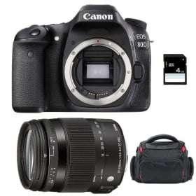 Canon EOS 80D + Sigma 18-200 mm f/3,5-6,3 DC OS HSM MACRO Contemporary + Bag + SD 4Go | 2 Years Warranty