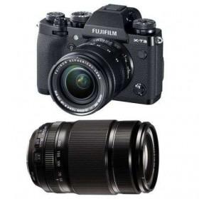 Fujifilm X-T3 Black + Fujinon XF 18-55 mm f/2.8-4 R LM OIS + Fujinon XF 55-200mm F3.5-4.8 R LM OIS | 2 Years Warranty